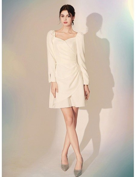 Pleated Short White Fitted Formal Dress With Long Sleeves