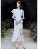Special High Low Tea Length Formal Dress With One Shoulder Cape Sleeve