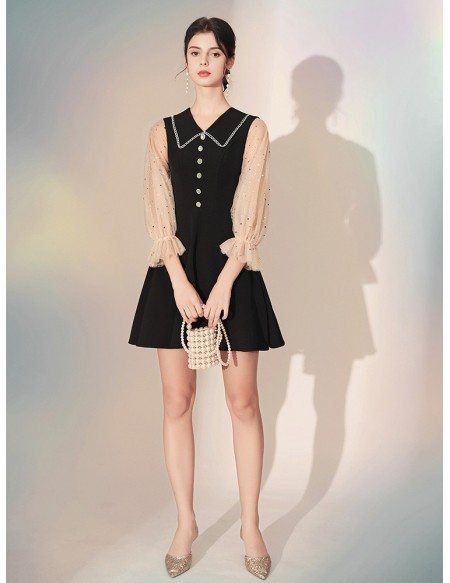 3/4 Sleeves Black Short Party Dress With Collar Buttons