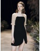 Simple Scoop Neck Little Black Dress With Short Sleeves