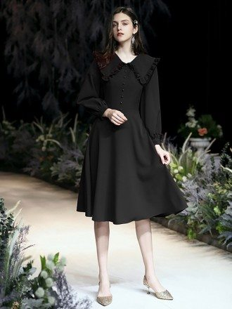 Elegant Tea Length Black Casual Dress With Long Sleeves
