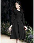 Elegant Tea Length Black Casual Dress With Long Sleeves