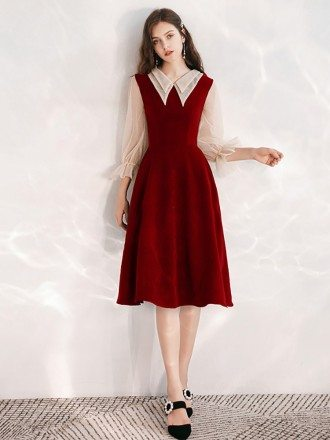 Burgundy A Line Tea Length Party Dress With Collar Sleeves
