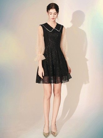 Shining Lace Black Short Party Dress With Sequin Sleeves