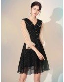V Neck Shiny Lace Simple Black Party Dress With Buttons
