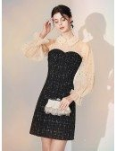 Modest Sparkly Sequin Lace Little Black Dress With Champagne Sleeves