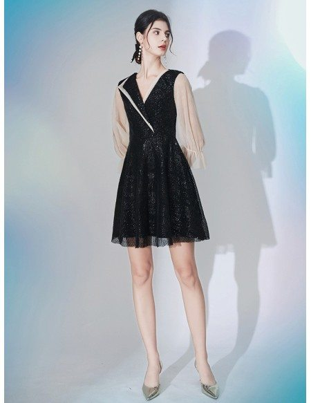 V Neck Sequin Lace Short Sleeved Party Dress In Black