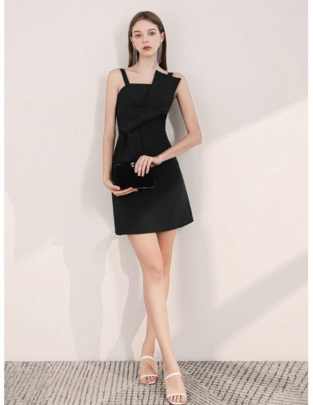 Simple Black Cocktail Dress With Spaghetti Straps