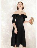 Tea Length Black A Line Formal Dress With Sheer Neck