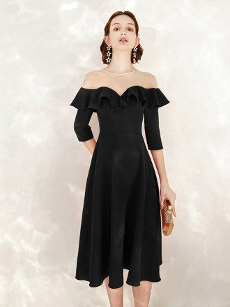 Tea Length Black A Line Formal Dress With Sheer Neck