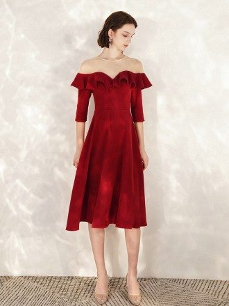 Fashion Sheer Neck Burgundy A Line Formal Dress In Tea Length