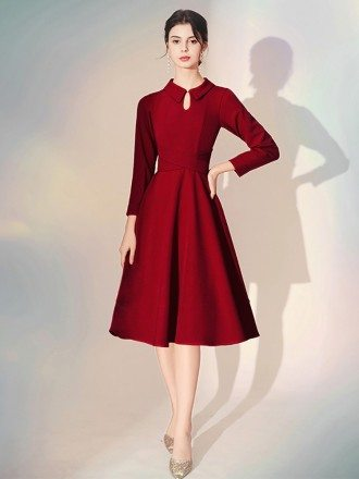 Simple Tea Length Sleeve Burgundy Party Dress With Retro Collar