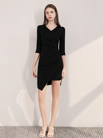 Sexy Fitted Hi-lo Sleeved V Neck Little Black Party Dress
