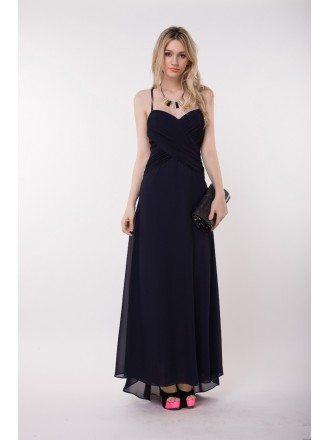 Stylish Sweethear Chiffon Long Dress With Open Back