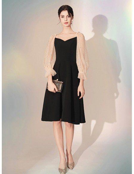 3/4 Sleeves Scoop A Line Black Party Dress In Knee Length