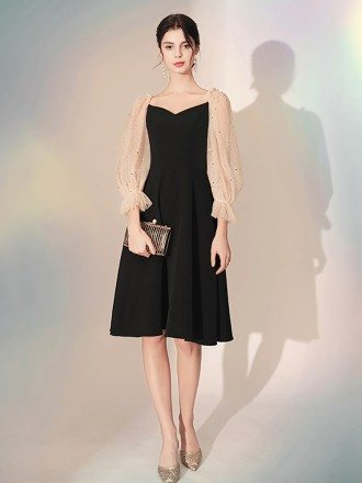 3/4 Sleeves Scoop A Line Black Party Dress In Knee Length