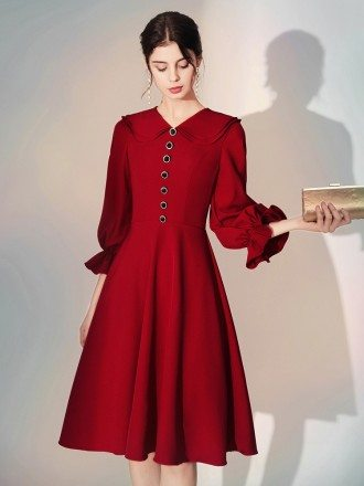 Modest Simple A Line Short Sleeved Burgundy Party Dress With Buttons