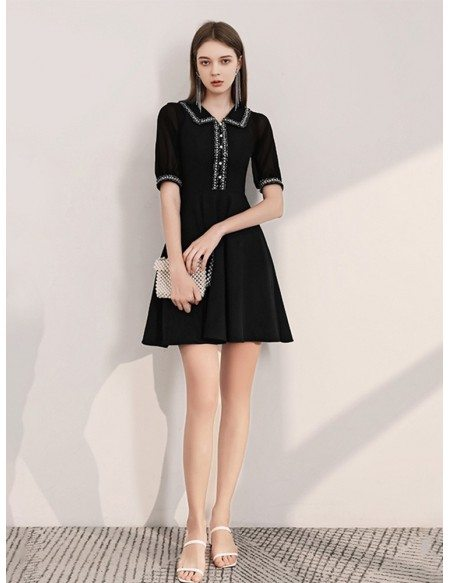 Sweety A Line Short Sleeves Black Casual Dress