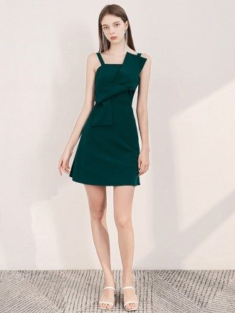 Simple Green Cocktail Party Dress With Spaghetti Straps