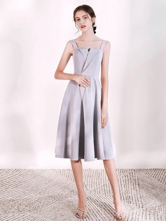 Simple A Line Tea Length Grey Party Dress With Straps