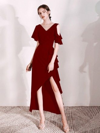 Burgundy Hi Lo V Neck Formal Dress With Ruffles