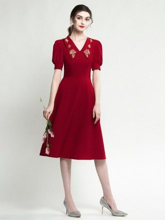 Sleeved Short Burgundy Party Dress With Embroidery V Neck