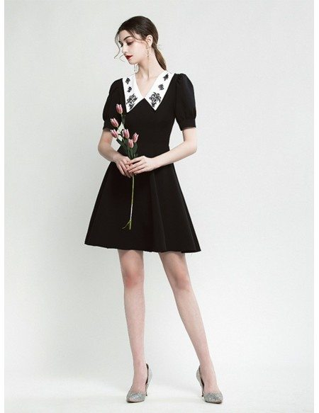 A Line Short Sleeve Black Party Dress With Embroidery Collar Neck