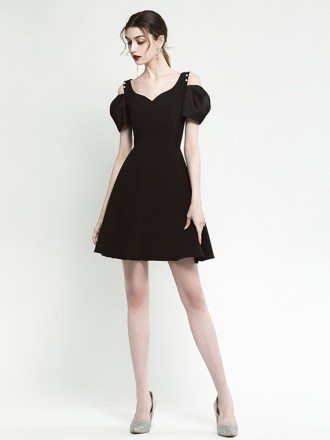 Simple A Line Little Black Casual Dress With Off Shoulder Sleeves