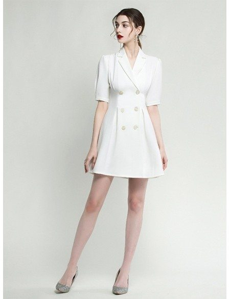 Modern White Short Sleeve Formal Cocktail Dress With Buttons