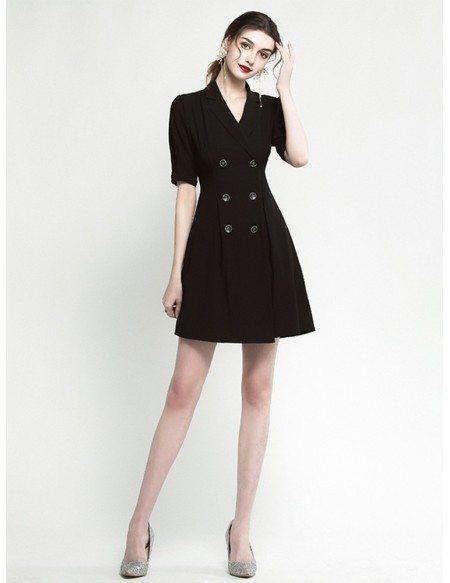 Modern V Neck Short Sleeve Little Black Cocktail Dress With Buttons