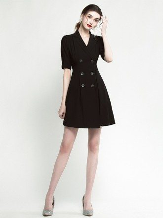 Modern V Neck Short Sleeve Little Black Cocktail Dress With Buttons