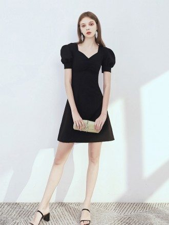 Simple Tight Fit Little Black Dress With Bubble Sleeves