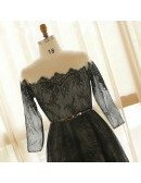 Custom Long Black Lace Illusion Neck Prom Dress with Lace Sleeves Plus Size High Quality