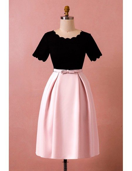 Custom Vintage Chic Black with Pink Wedding Party Dress with Short Sleeves High Quality