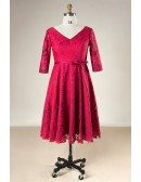Custom Burgundy Full Lace Mid Length Wedding Party Dress Vneck with Half Sleeves High Quality