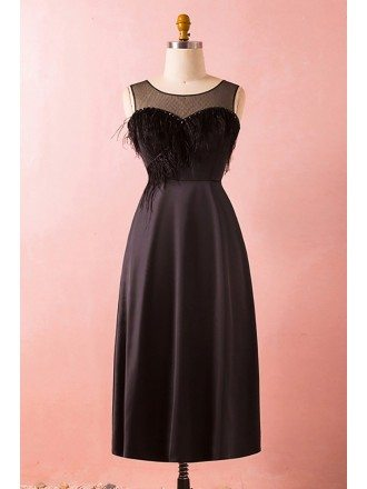 Custom Black Vintage Midi Tea Length Party Dress with Feather Illusion Neckline High Quality