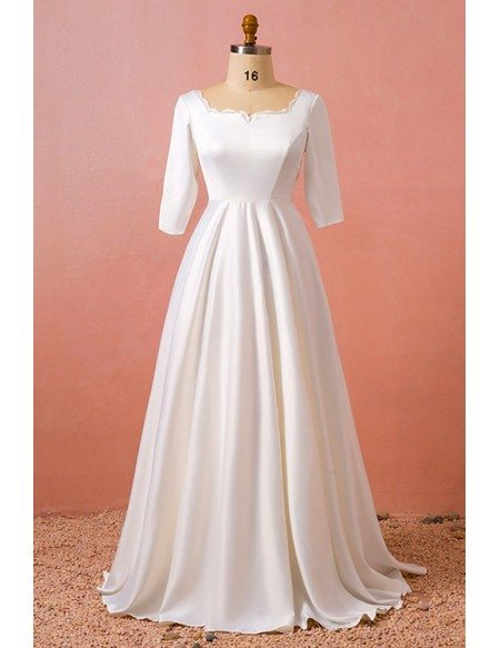Custom Modest Satin Square Neck Wedding Reception Dress with Half Sleeves High Quality