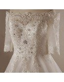 Custom Ivory Formal Beaded Lace Wedding Dress with Half Sleeves Plus Size High Quality