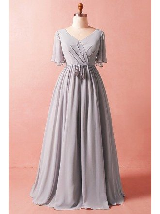 Custom Elegant Grey Chiffon Wedding Party Dress with Puffy Sleeves Sash High Quality