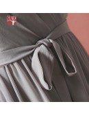Custom Elegant Grey Chiffon Wedding Party Dress with Puffy Sleeves Sash High Quality