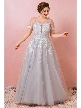 Custom Grey Tulle Lace Prom Dress with Sheer Neck Short Sleeves Plus Size High Quality