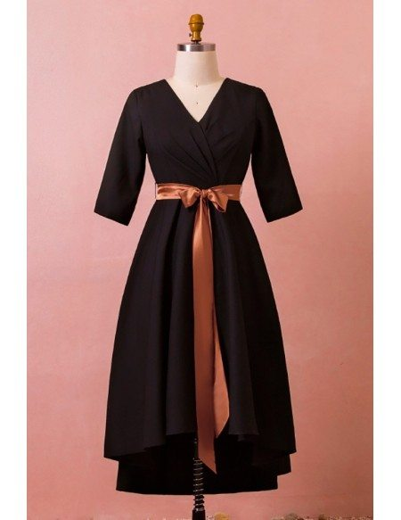 Custom Elegant Black Mid Length Formal Dress Vneck with Half Sleeves Brown Sash High Quality