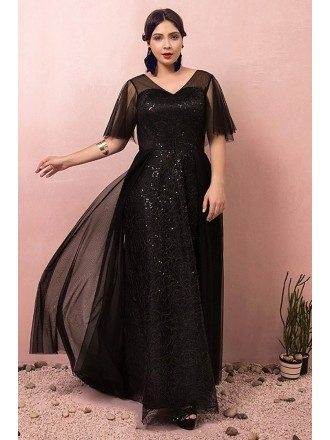 Custom Black Vneck Long Formal Dress with Sequins Puffy Sleeves Plus Size High Quality