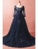 Custom Formal Long Train Navy Blue Evening Dress with Illusion Neck Long Sleeves High Quality