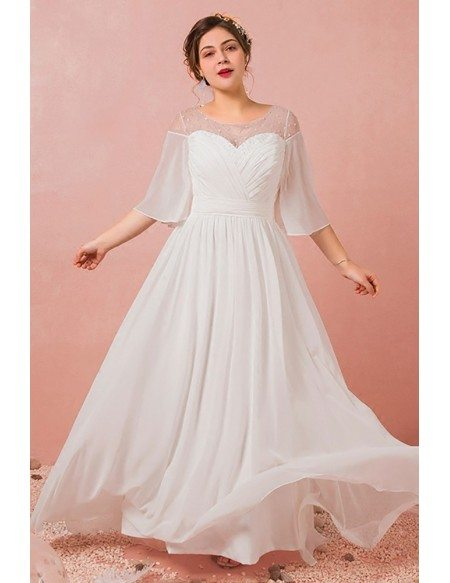 Custom Ivory Pleated Chiffon Beach Wedding Dress with Illusion Neck Puffy Sleeves Plus Size High Quality