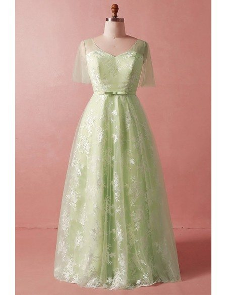 Custom Modest Green Lace And Tulle Long Party Dress with Puffy Sleeves High Quality