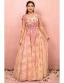Custom Sequined Pink Lace Formal Party Dress with Cap Sleeves Plus Size High Quality