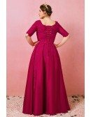 Custom Burgundy Formal Wedding Party Dress Vneck Lace with Short Sleeves Plus Size High Quality