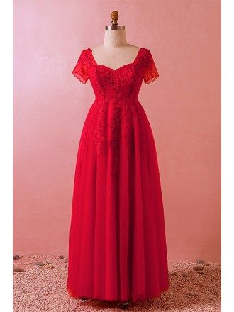 Custom Red Beaded Lace Modest Long Formal Dress Laceup with Short Sleeves High Quality