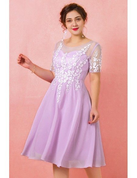 Custom Lilac Chiffon Knee Length Party Dress with Flowers Short Sleeves High Quality